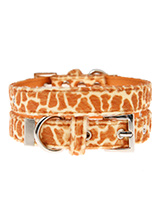 Giraffe Print Fabric Collar - Our Faux Giraffe collar is a contemporary animal print style and is right on trend. It is a contemporary style and the pattern is on trend. It is lightweight and incredibly strong. The collar has been finished with chrome detailing including the eyelets and tip of the collar. A matching lead, harnes...