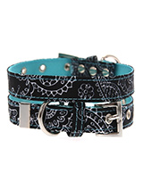 Black & Blue Paisley Collar - The Paisley pattern has its origins in Ancient Babylon but is now synonymous with the town of Paisley in Scotland. We thought it would look class on your dog. It is lightweight and incredibly strong. The collar has been finished with chrome detailing including the eyelets and tip of the collar. A ma...