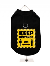 ''Keep Distance 2m'' Harness-Lined Dog T-Shirt